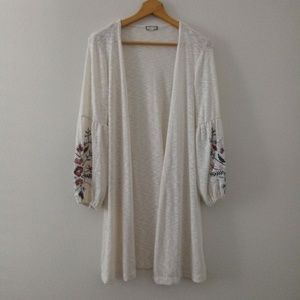 Eyeshadow Long Open Front Cardigan